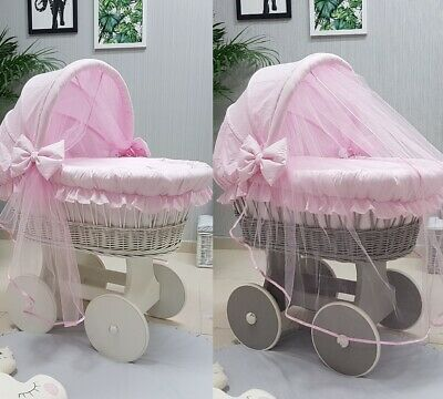 Wicker Moses Basket With Hood Tulle + Stand + Big Wheels & Pink Bedding