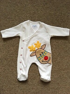 BNWOT Jo Jo Maman Bebe Winter Christmas Reindeer Baby Grow Sleep Suit 0-3 Months