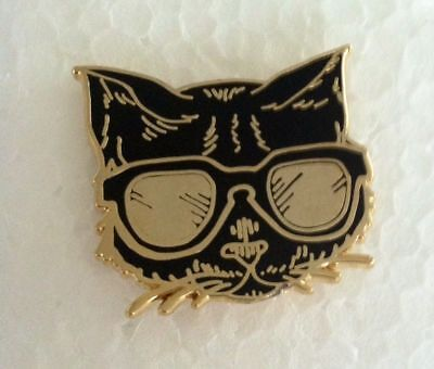 Black Cat Pin Brooch Gold Cloisonné Black Kitty Cat Wearing Gold Sunglasses Pin
