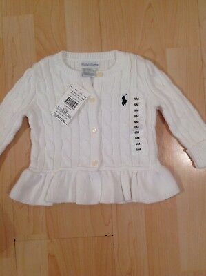 Ralph Lauren Girl's White/Cream Cable Knit Flared Cardigan For 9 Months BNWT