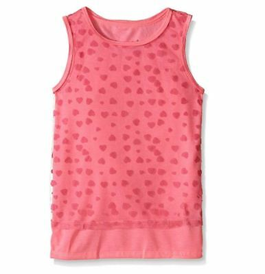Dream Star - Girls' Little Tulle Flocked Hearts Over Solid Jersey Tank 2PC Set L