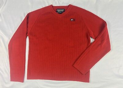 Abercrombie & Fitch Mens Medium Long Sleeve Thermal Muscle Shirt Red A&F Z