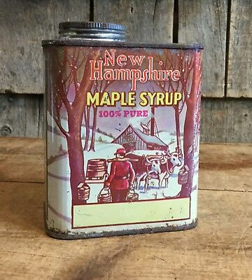 RARE Vintage New Hampshire Maple Syrup Quart Advertising Can Sugar House Graphic