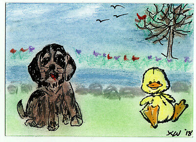 JKW Puppy Dog and DUCK Playing Lake Landscape Art ACEO Original Painting