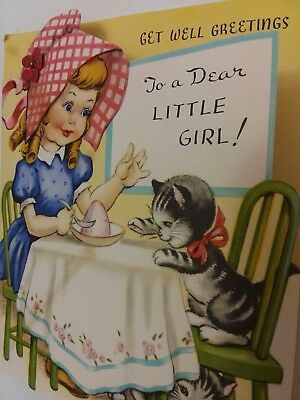 Vtg 1950s Darling GIRL w KITTENS at Table TO DEAR LITTLE GIRL Greeting CARD