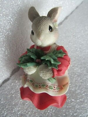 My Blushing Bunnies Figurine:Have A Berry Happy Holly Day