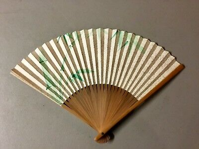 Vintage 1940's Japanese Hand Painted Bamboo and Paper Ladies Hand Fan-WWII ERA