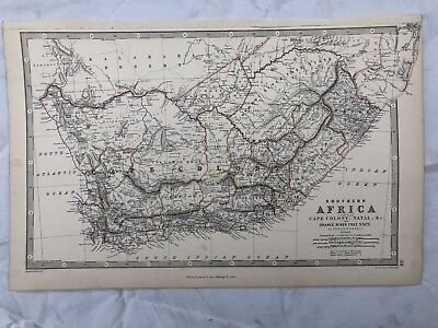 1876 South Africa Large Antique Hand Coloured Map By A.k. Johnston