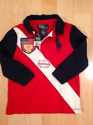 Polo Ralph Lauren Boy's Red Big Pony Crested Rugby Shirt For 18 Months BNWT