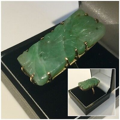 Stunning Antique Vintage 18ct Chinese Carved Jade Stone Ring Size P Boxed