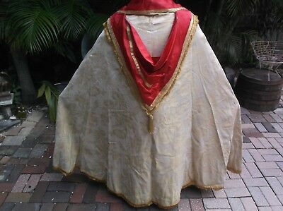 VINTAGE HOLY PRIEST GOLD BROCADE & RED Cope CHASUBLE CAPE ALTAR Vestment Clergy