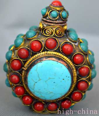 Collectable Ancient Turquoise Coral Carve Bead Souvenir Tibet Old Snuff Bottle
