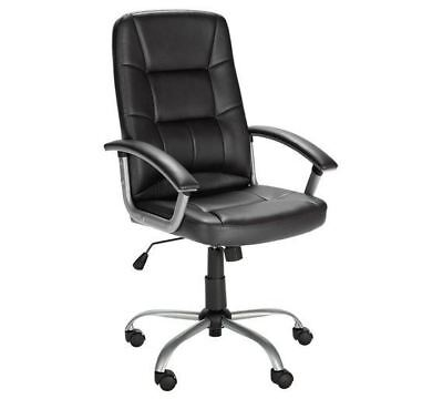 Black Leather Walker Height Adjustable Chair Home or Office Swivel Executive