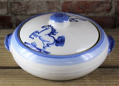 M.a. Hadley Hand Painted Blue Horse Pottery Covered Casserole