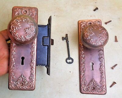 Victorian Antique Vintage Door Plates Knobs Mortise Lock Key Old Ornate Hardware