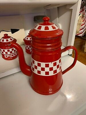 LUSTUCRU Antique French Enamelware Coffee Pot Pitcher Red And White Checkered