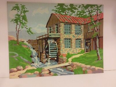 Vintage paint by number landscape, Old Mill 12 x 16