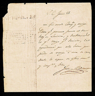 Mexican President Jose Ma. Bocanegra Authentic Historical Signed Document 1839