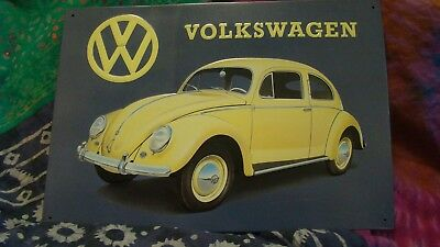 Vw Bug Classic Style Volkswagen Beetle Tin Metal Sign