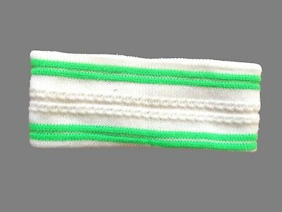 Unisex Vintage White Green Striped Ski Snowboard Headband One Size