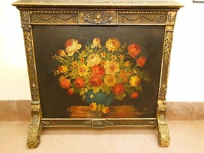 Antique 19th C. American Painted Fire Screen w/ Original Oil Painting on board