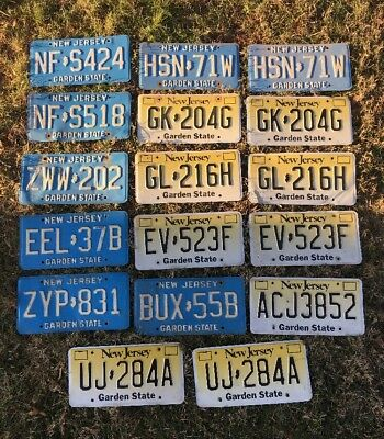 Lot Of 17 NJ New Jersey License Plates Blue Yellow Fade