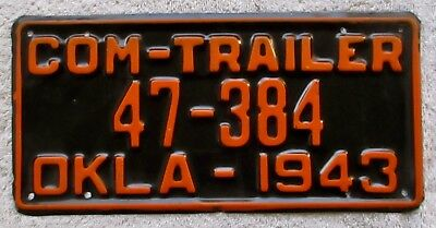 1943 Oklahoma Commercial Trailer License Plate