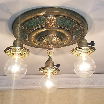 521b Brass Antique Ceiling Light  fixture art nouveau  chandelier 3 Light