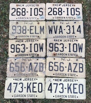 Lot Of 10 Vintage NJ New Jersey License Plates Straw Base For Craft