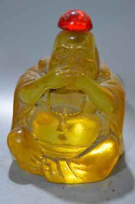 Collection Amber Carve Smile Buddha Hold Mouth Handwork Royal Tibet Snuff Bottle