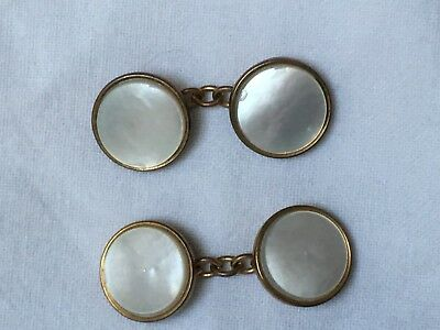 Vintage Art Deco c1920 to 1930s mother of pearl cufflinks good condition