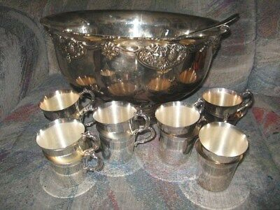 Vintage WALLACE #17 Silverplate Punch Bowl 12 Cups & Ladle