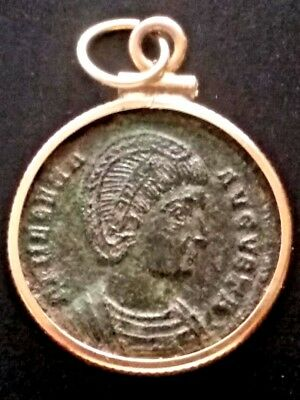 Helena, Saint Authentic Ancient Roman Coin Gold-Filled Necklace Charm Pendant