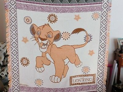 "Disney The Lion King Simba Character Beacon Blanket 60"" X 46"" Throw 100% Cotton"