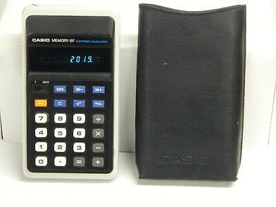 CASIO Memory 8F Electronic Calculator w. Soft Leather Pouch Tested Works Great}