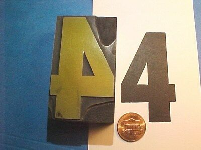 "BIG Number FOUR #4 NO. 4 Numeral Four - 1 1/2"" x 2 5/8"" Letterpress Printers Cut"