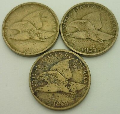 1857 & (2) 1858 Flying Eagle One Cent Penny US Coins ~6855~