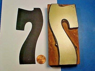 "VERY BIG Number SEVEN - #7 Numeral SEVEN - 2 7/16"" x 5"" Letterpress Printers Cut"