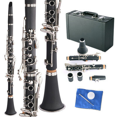 Professional Bb Clarinet Classic Beginner School Band W/ Case&Care Kit Black