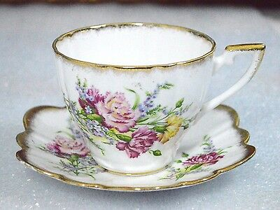 Royal Imperial England Pink Red Yellow Flowers Scalloped Cup Saucer Set