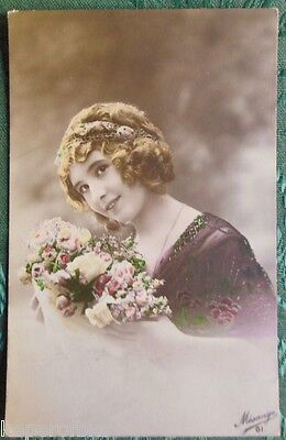 French Country Blonde Lady-Antique Vintage Hand Color Rppc Real Photo Postcard 2