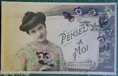 French Country Girl Pansy's Antique Vintage Rppc Real Photo Hand Color Postcard