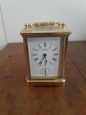 Antique French Tiffany Brass Repeater Carriage Clock with Alarm.  C.A.W. Crosby