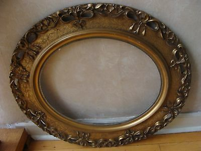 Antique Large Oval Gesso Picture Frame w Beautiful Lilies Art Nouveau