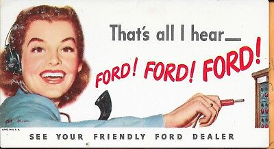 Ford Car Dealer Early Ink Blotter-Litho of Early Telephone Operator-Unused-Signe