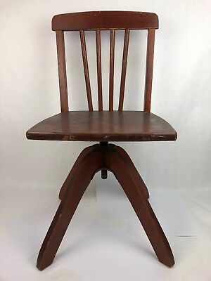 Vintage Child Kids Childhood antique wood swivel Armless bankers chair Seat