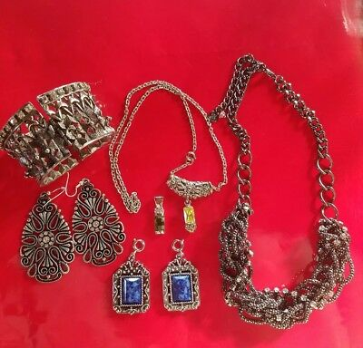 Vintage Drop Pendant Cystal And Charm ,NACKLACE Lot