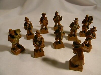 Antique Hand Carved Wooden 10-Piece Street Band