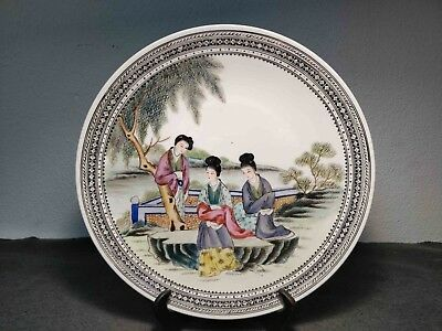Rare Antique Chinese Porcelain Big Republic Plate W/ Women's Marked On Back