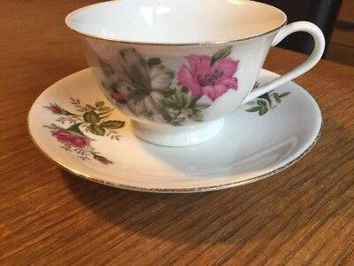 Vintage Mismatched China Cup & Saucer Pretty Pink & White Flower Design!